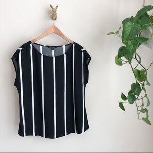 Banana Republic black & white vertical striped top